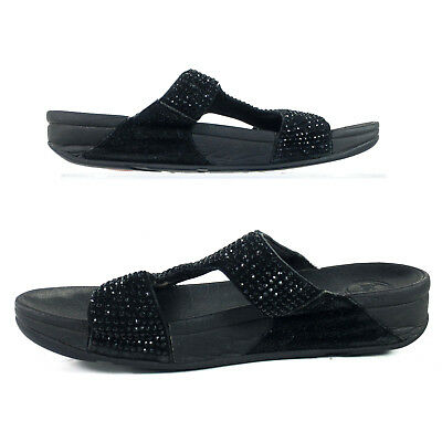 d12a6f9aa07 FitFlop Womens Slide Sandals Sparkle Embellished Toning Shoe Black Strappy  US 10