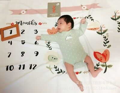 Baby Monthly Milestone Blanket Photography Props Backdrop for Newborn Boy Girl