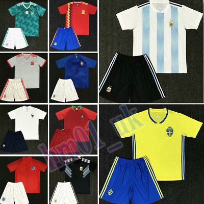2018 Football Soccer Club Jersey Short Sleeve 3-14 Years Kids Boy Suit&World Cup