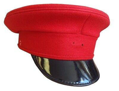 British Army - Red Peaked Cap - Size 58 Cm - Grade 1 Condition - Rl2837