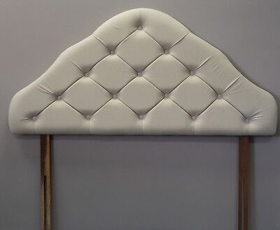4ft6 double ivory cream velour fabric upholstered padded headboard bed head end