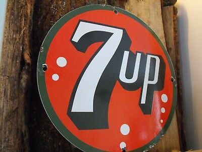 Vintage 7 UP Soda Porcelain Sign Country Store Very Nice Condition with Gloss