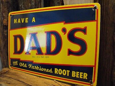 Vintage DAD'S Old Fashioned ROOT BEER Soda Porcelain Sign Excellent Condition