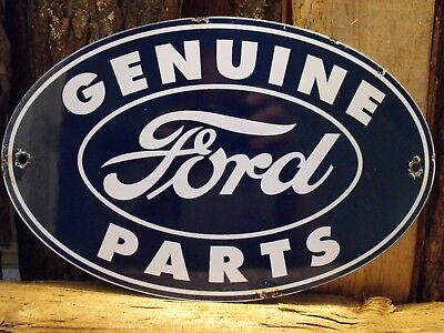 Vintage Genuine FORD Parts Porcelain Sign Excellent Shape MUSTANG F 150 Made USA