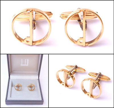 Vintage Cufflinks Dunhill Halo Cufflinks For Men Gold Cufflinks + Cuff Link Box