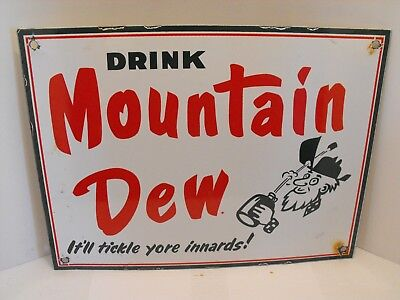 "Vintage MOUNTAIN DEW Soda Porcelain Sign ""It'll Tickle Your Inards!"" Excellent"