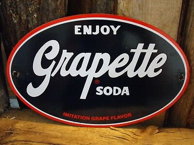 Vintage Grapette Soda Porcelain Sign Country Store Very Nice Condition