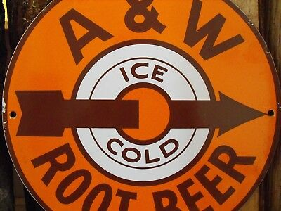 Vintage A & W Root Beer Porcelain Sign Ice Cold Early Arrow Design Country Store