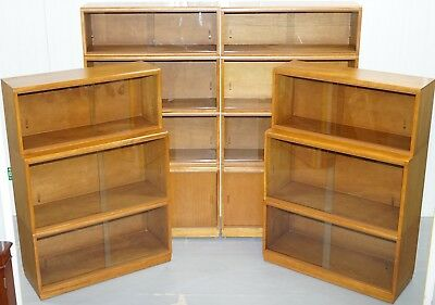 Complete Library Suite Of 1960's Simplex Honey Oak Stacking Bookcases Glass Door
