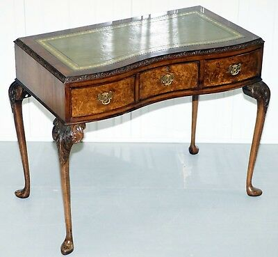 Stunning Queen Anne Pad Foot Walnut Writing Hall Console Table Desk Leather Top