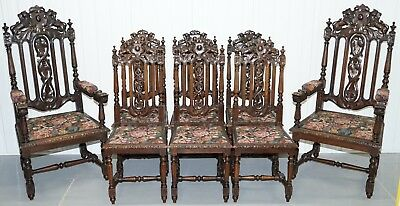 Set Of 8 Hand Carved Lion Terminal Early Victorian Dining Chairs Jacobean Manor