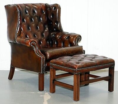 Restored Vintage Hand Made In England Chesterfield Wingback Armchair & Footstool