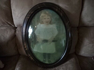 Antique Oval Convex Wood Frame with Chalk Pastel Girl's Portrait