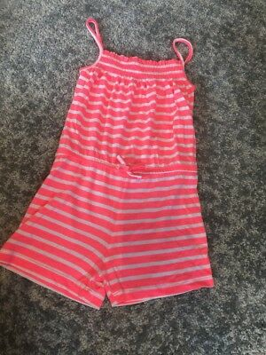 Girls Neon Orange And White Sunmer Shorts Jumpsuit Playsuit Age 6-7 Years