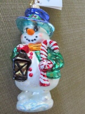 Christopher Radko footed Frosty Snowman - hand blown glass