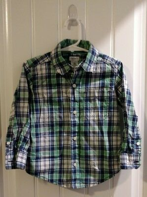 Carter's Long Sleeve Plaid Blue Green White Size 2T Toddlers