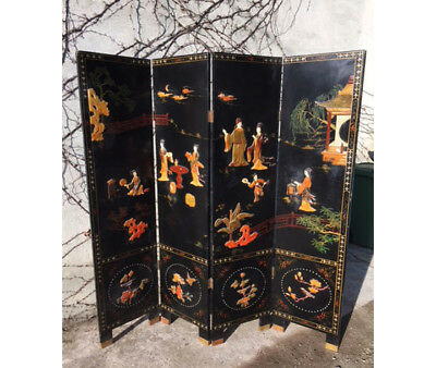 Oriental Screen in Black lacquer and Soapstone Steatite sculpture