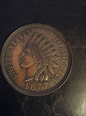 VINTAGE/Unique NOVELTY 1877 US INDIAN HEAD ONE CENT Penny 3inch COIN COLLECTIBLE