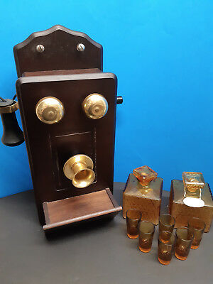 Vintage Wooden Phone Decanter wall set with glasses