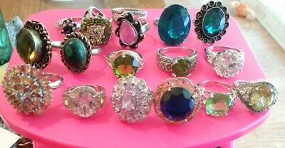 Lot of sterling silver NO SCRAP wear 925 jewelry 115 grams cocktail rings NR
