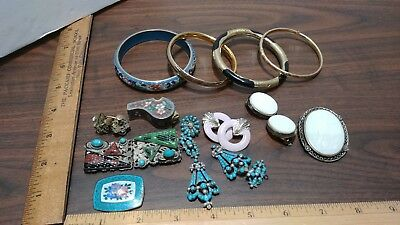 Antique Victorian Mixed Lot Of Jewelry Gold Filled Czechoslovakia Cloisonne