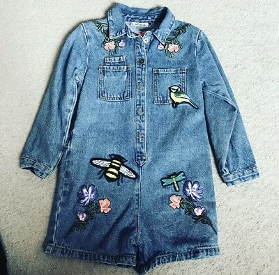 Girls Gorgeous Next Summer Denim Playsuit With Patches Age 3-4