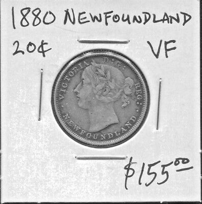 Newfoundland  - Beautiful Historical Rare Qv  Silver 20 Cents, 1880