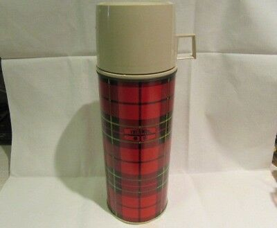 Vintage Plaid 24 Oz Thermos No. 2395 Steel King Seeley Excellent Condition