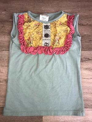 Persnickety Girls lou lou size 4T Top tank ruffle Sage Green Pink yellow