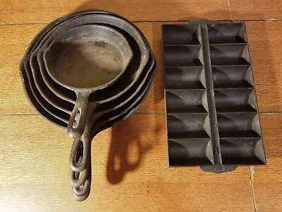 Lot 6 Pieces Vintage Cast Iron Cookware Frying Pans Mixed Wagner Ware 0, 7, 1056