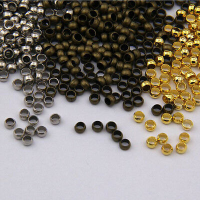 500pcs Silver Gold Bronze Copper Rondelle Crimp End Jewelry Finding Spacer Beads