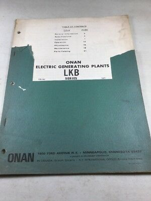 Onan LKB Series Electric Generating Plants Operators Manual