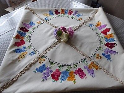 Vintage Hand Embroidered Linen Tablecloth=Exquisite Raised Embroidery