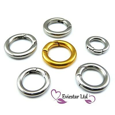 304 Stainless Steel Clasps Round Push Gate Snap Open Hooks Spring Ring Key
