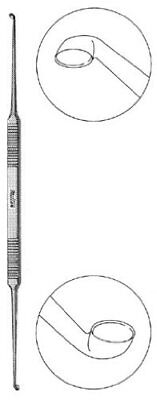 Miltex 19-2529 Double Ended House Curette with Flat Handle, Strong Angle,