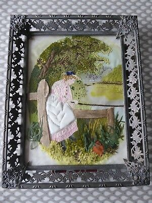 Vintage Hand Embroidered Picture -  Crinoline Lady-M