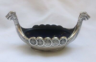 Viking Ship Vtg Sterling Silver Sweden T Olsens Salt Cellar Blue Glass Center