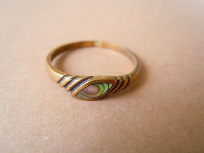 Schmaler Messing Ring mit Seeopal/Abalone Gr 61 / 1,8 g