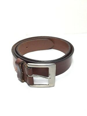 13dcebf324b WOMENS DARK BROWN wide leather braided belt with silver buckle size ...