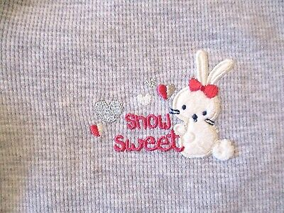 Jumping Beans 6 months Gray Snow Sweet Bunny Long Sleeved Bodysuit New