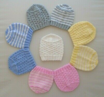 3pk Hats 5-7lbs Tiny Baby Premature Girls Boys Hand Knitted Pink Blue Lemon Grey