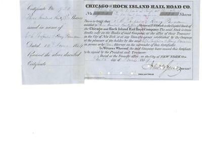 Chicago & Rock Island RR 1854 signed Jervis as 2nd pres issued to Farnam 3rd pre
