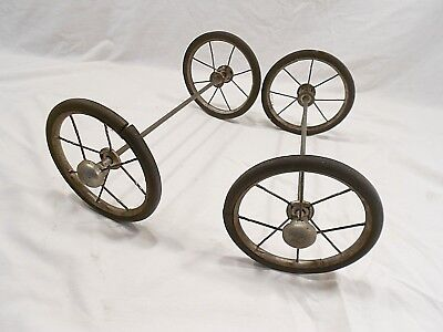Vintage Carriage / Buggy / Stroller Spoke Wheels And Axles