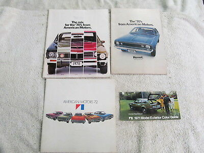 (4) 1970 & 1972 American Motors Dealer Sales Brochures, Covers All Models.