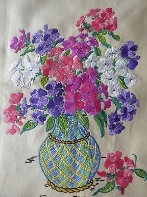 Vintage Hand Embroidered Picture Panel - Fabulous Floral Bouquet