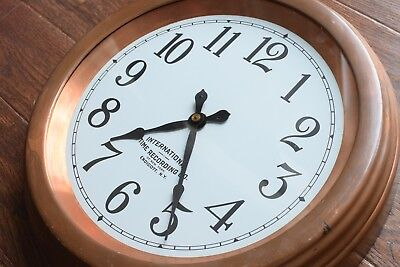 Antique VTG 1930's COPPER International Time Recording Railway School Wall Clock