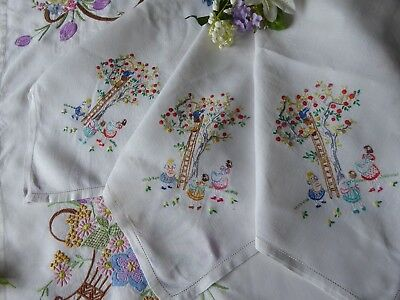 Vintage Hand Embroidered Tablecloth/  Charming Little Ladies/apple Picking