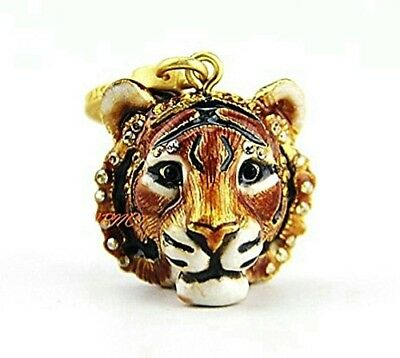 Jay Strongwater Charming Super Rare Ian Amber Tiger Head Charm Swarovski Box Usa