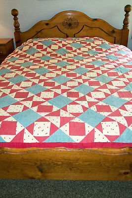 Antique Quilt Red White & Blue Circa 1900 Yankee Puzzle Appraised $400