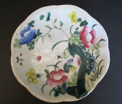 Rare Antique 19th Century Chinese Floral Porcelain Footed Low Bowl Dish